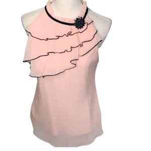 BCX Women's Gemstone halter top Large pink black